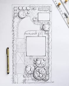 What's your opinion about small gardens projecting, is it easy or not? I didn't decide yet. Sketch for my colleague's plot. Architecture Blueprints, Landscape Architecture Drawing, Landscape Sketch, Landscape Drawings, Architecture Site, Computer Architecture, Garden Design Plans, Landscape Design Plans, Plan Sketch