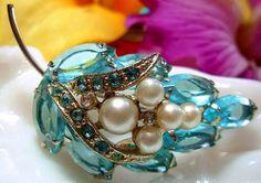 Vintage Aqua Blue Brooch Pin Faux Pearls & by BrightgemsTreasures, $24.50