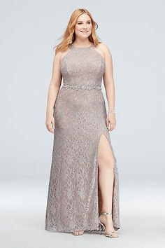 Shimmering metallic glitter lace gets a sparkly assist from the beaded belt on this round-neck halter plus-size gown. David\'s Bridal exclusive color By City Triangles Nylon, polyester, spandex B Plus Size Prom, Plus Size Formal Dresses, Plus Size Gowns, Mermaid Dresses, Prom Dresses, Lace Ball Gowns, Prom Dress Shopping, Mom Dress, Perfect Prom Dress