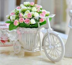 Wholesale price Rattan trycycle vase + artificial flower silk flower set home decor table dinning room gift wedding decoration Wedding Decorations Pictures, Wedding Ceremony Pictures, Table Decorations, Decorating With Pictures, Deco Table, Diy Home Crafts, Flower Boxes, Flower Centerpieces, Silk Flowers