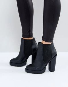 Buy ASOS ETERNAL Chelsea High Ankle Boots at ASOS. Get the latest trends with ASOS now. Black Heeled Ankle Boots, Cute Ankle Boots, Black High Heels, High Heel Boots, Cute Shoes, Bootie Boots, Black Booties, Ankle Booties, Women's Shoes