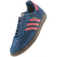 claret and blue adidas samba