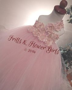 Blush Shabby Flower Tutu Dress with One Shoulder Strap Tutu Dress for Flower Girls Sizes 2T, 3T, 4T up to Girls size 7