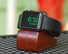 Apple Watch Dock - The RIPPLE in Mahogany - Hides the cable - Perfect for Nightstand Mode. Apple Watch Charging Stand, Apple Watch Bands, Easy, Watches, Nightstand, Watch Accessories, Gadget, Cable, Iphone