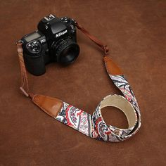 Womens Camera Strap  Floral DSLR Leather by camerasbagstraps