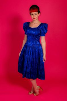 Could be classed as a bridesmaid dress / prom dress occasion dress. 70s does 50s royal blue jacquard dress. detachable diamante bow on back of dress. there is a flash on my camera so the item pictured is that what you will receive. | eBay!