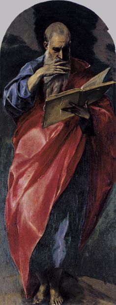 ''A prophet by El Greco''. El Greco painted overscale drapery often in surprising - but very beautiful - colour. Spanish Painters, Spanish Artists, Caravaggio, Catholic Art, Religious Art, San Juan Evangelista, St John The Evangelist, Art Through The Ages, Byzantine Art