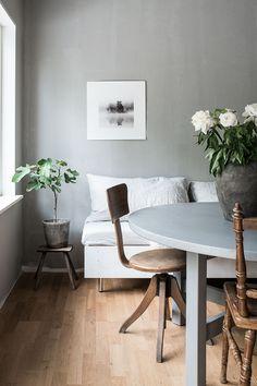 White and grey Scandinavian interior