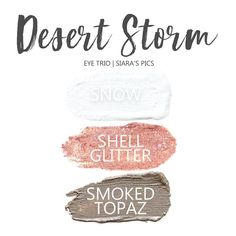 Desert Storm Eye Trio uses three SeneGence ShadowSense : Snow, Shell Glitter and Smoked Topaz. These creme to powder eyeshadows will last ALL DAY on your eye. Click thru to purchase yours NOW!!   #shadowsense #trio #shadowsensetrio #eyeshadow #desertstorm