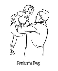 Father's Day Coloring Pages - Father and Daughter on Father's Day | HonkingDonkey Free Printable Coloring Sheets, Coloring Pages For Kids, Fathers Day Coloring Page, Coloring Pictures For Kids, Apple Theme, Happy Fathers Day, Spring Colors, My Drawings, Pai