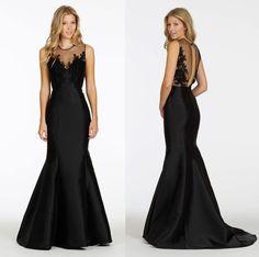 Romance Black Illusion Sweep Train Satin Trumpet Mermaid Bridesmaid/Prom Dress B1jl0095