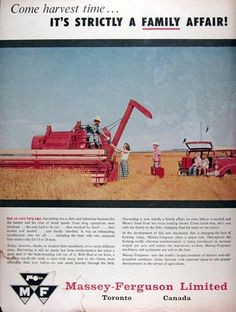 1958 Massey Ferguson Combine original vintage advertisement. Not so long ago, farming was a slow and laborious business for the farmer and his crew of hired hands. Today, harvesting is still no picnic but farm mechanization has taken a great deal of the back breaking toil out of it. With Dad at the helm, a self-propelled combine can do the work it once took many men to do in one quick journey through the field.