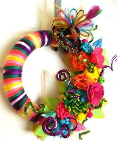 FIESTA-only 1- Cinco de Mayo: 12 inch Felt and Yarn Wreath on Etsy, $46.00