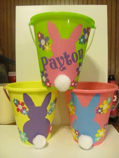 Love these easter baskets jen made using dollar store buckets this link doesnt work but the idea is cute easter buckets negle Choice Image