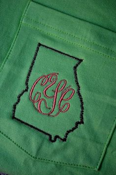 MONOGRAMMED State Outline Pocket Tee by embellishboutiquellc, $22.99. NEEED