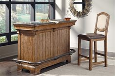 The American Attitude Home Bar by Samuel Lawrence Furniture brings a unique mix of artistry and design to home furnishings. Industrial inspiration combined with an homage to our environment, American Attitude has an authentic and natural appeal. Pulaski Furniture, Home Bar Furniture, Furniture Sale, Nice Furniture, Custom Home Bars, Bars For Home, Bar Shed, Indoor Bar, Home Bar Accessories