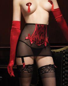 2PC. Burlesque Femme Fatale Girdle (Incl. Red Satin