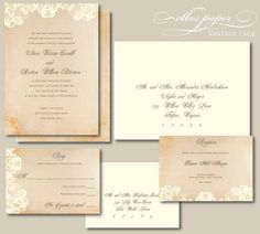 Lace Wedding Invitation - Vintage Lace