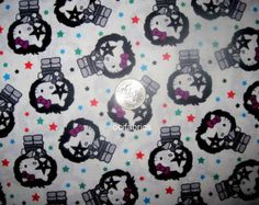 1 Yard Hello Kitty Cotton Fabric Kiss Rock N Roll BTY White Toss With Stars