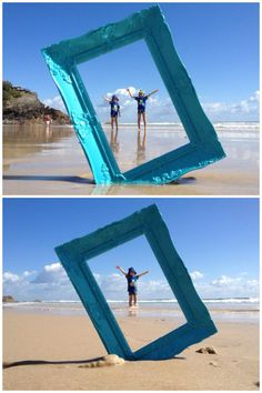 Photo frame beach photography idea,