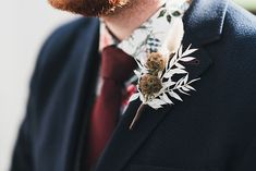 Simple Dried Buttonhole for Groom in Navy Suit with Burgundy Tie. Image by Jack Corthine Photo Wedding Flower Inspiration, Wedding Flowers, Wedding Day, Wedding Buttonholes, Burgundy Tie, Button Holes Wedding, Morning Suits, Looking Dapper, Love Letters