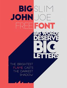 Big John / Slim Joe. – all caps two weights geometric and modern form. #typography