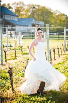 OreaSposa dress & cowboy boots @Martha Clara Vineyards @W Studios New York