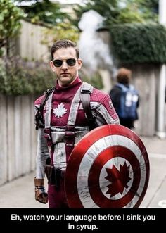 Captain Canada, eh ------------------------------------- Found it pretty funny since I'm from America, when it really 's captain America, Steve Rogers Canada Memes, Canada Funny, Canada Eh, Canada Humor, Marvel Funny, Marvel Memes, Marvel Dc Comics, Dc Memes, Funny Memes