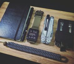 EDC + Apple Watch Leatherman Wave, Custom Wallet, Paracord Fishtail Bracelet, Notebook