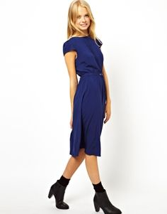 ASOS Midi Skater Dress With Pintucks And Belt -- check out the green version of this. Do you think it's too emeraldy?