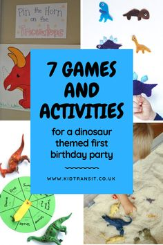7 fun games and activities to play and do at a dinosaur children's party. Fill y… 7 fun games and activities to play and do at a dinosaur children's party. Fill your first birthday party with laughter playing these dinosaur games. Dinosaur Party Activities, First Birthday Activities, 21st Birthday Games, Dinosaur First Birthday, Dinosaur Games, Kids Party Games, 1st Boy Birthday, Boy Birthday Parties, Fun Games