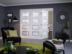 Internal Bifold Doors: Concertina Style Folding Doors From Vivid Grey Internal Doors, White Bifold Doors, Internal Folding Doors, Primed Doors, Walnut Doors, Contemporary Doors, Sliding Patio Doors, Interior Exterior, Doors