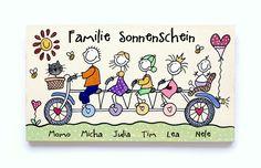 Türschild Namensschild Familie Tandem von byAnnoDomini auf DaWanda.com