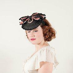 reserved / vintage 1940s hat / tilt hat / by PoppycockVintage