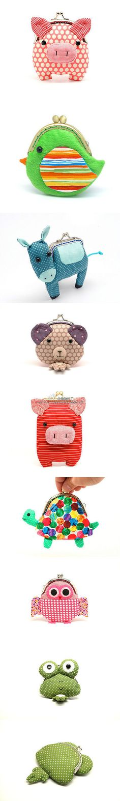 animal coin purses! these are too adorable --- the pig!!! For Jordan's $ on concession day!