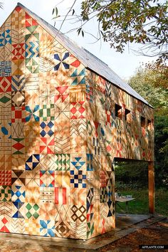 An incredible patterned park building by Studio Weave in Dartford, Kent.