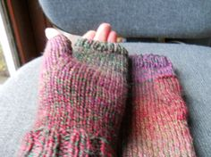 Ladies pink red green tweed fingerless gloves by beaulyben on Etsy, $20.00