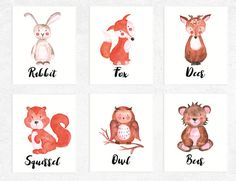 50% OFF SALE   Woodland Animals Printables   6 Set   Fox   Deer   Bear   Rabbit   Owl   Squirrel  Nursery Prints   Watercolor   Baby Art