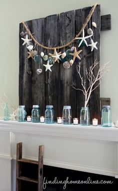 Summer-Mantel...you can also make one from driftwood. Have your children search for shells and driftwood and it will be priceless!