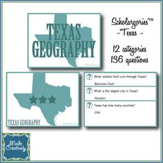 Scholargories™ - Texas is a fun way for students to review facts learned when homeschooling! This engaging game contains 48 cards featuring a total of 136 questions divided into 12 Texas-themed categories covering a wide range of Texas knowledge. Mix-and-match categories from several Scholargories™ subjects to cover an even broader range of knowledge! Great for grades 6-12. Gameplay instructions included!