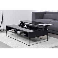 Table basse noire plateau rehaussable