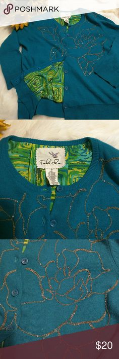 Anthropologie Tabitha sweater Beautiful teal blue button down cardigan with gold detail and a fun bright lining. This is a gently worn sweater great over a cute dress or even paired with shorts. Anthropologie Sweaters Cardigans