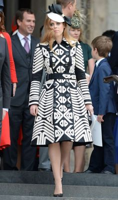 <p>Princess Beatrice is giving the Duchess of Cambridge a run for her money when it comes to chic coat dresses. For a church service for the Queen's 90th birthday, she wore this patterned Burberry number. <i>(Photo byJames Whatling)</i></p>