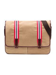Louisville Cardinals men's cotton messenger bag with genuine leather trim. https://jackmasonbrand.com/product/louisville-cardinals-tailgate-messenger-bag/ Jack Mason Brand - College Team Accessories