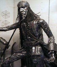 Jack Sparrow recycled steel sculpture