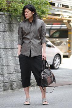 Devoa | Silicone Coating Linen Check Jacket |   Devoa x 10sei0otto Sandals-1