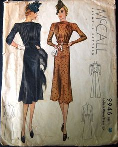 """McCall 30's Cocktail Dress 9946 McCall   30's Cocktail Dress Pattern  9946  Misses Cocktail Dress  Size 20/38"""" bust/41"""" hip  Bodice with high rounded collar has shirring at shoulder to waistline.  Two sleeve option either long fitted sleeve with buttons at wrist and three quarter sleeve length.  A slightly flared skirt can be worn with or without belt.env fair Complete used sld 36.02+2.54 6bds 6/23/15"""