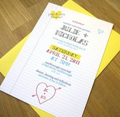School Notebook Style wedding Invites by twoforjoypaper on Etsy. super cute
