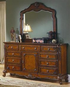 Madaleine Warm Cherry Wood Metal Glass Dresser