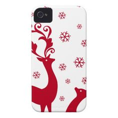Cute Christmas deers with snowflakes iPhone 4 Cover
